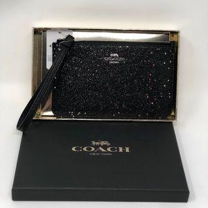 Coach boxed small glitter heart wristlet black